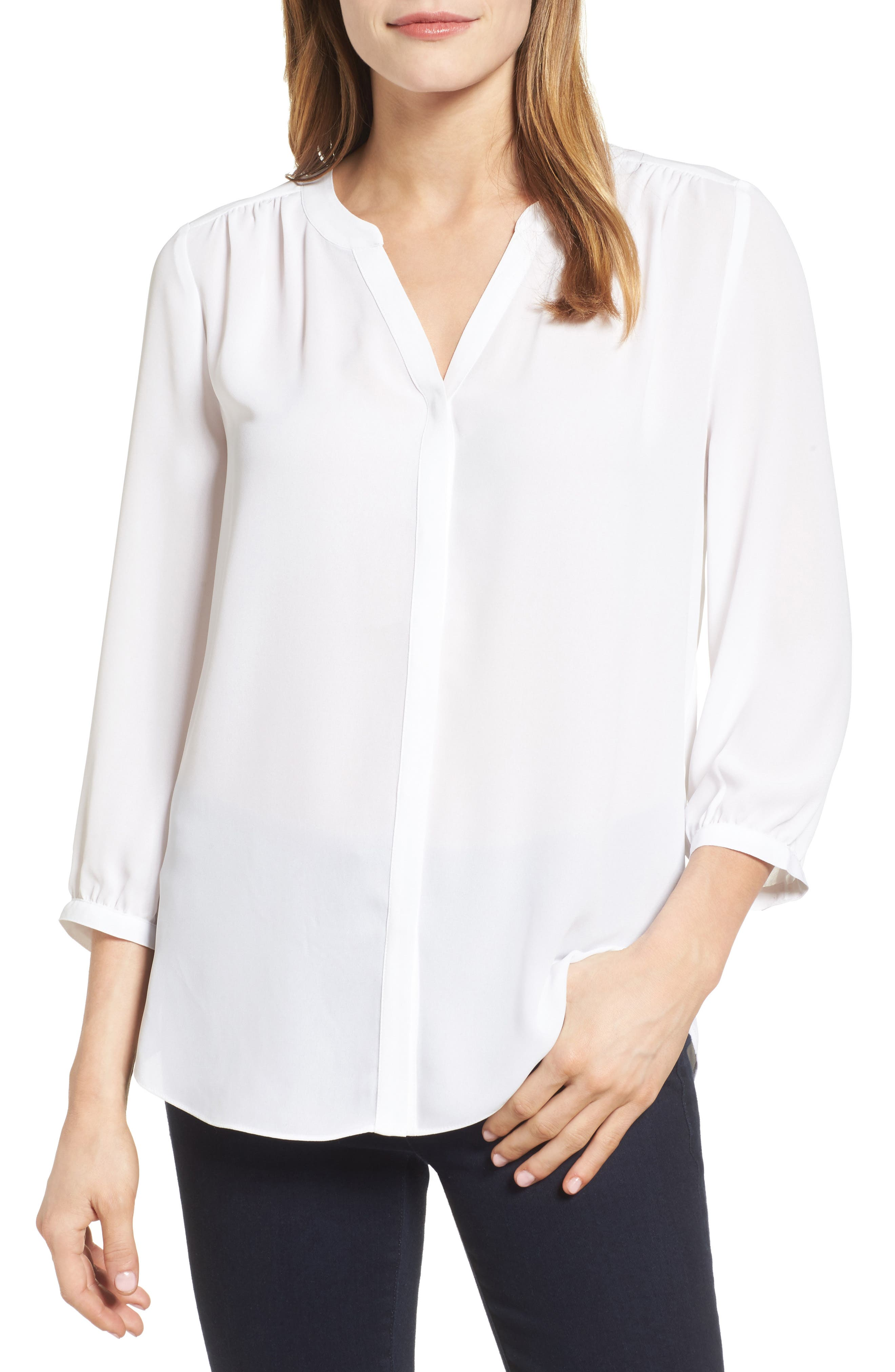 Image of NYDJ Split Neck 3/4 Sleeve Blouse