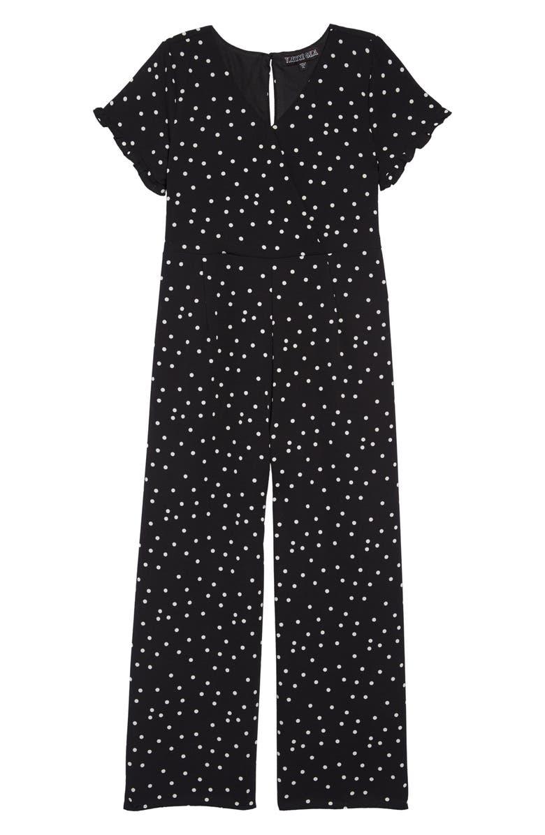 TRIXXI Dotted Jumpsuit, Main, color, BLACKWHT