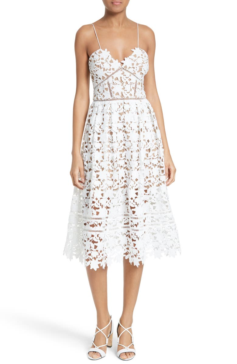 SELF-PORTRAIT 'Azaelea' Lace Fit & Flare Dress, Main, color, 100