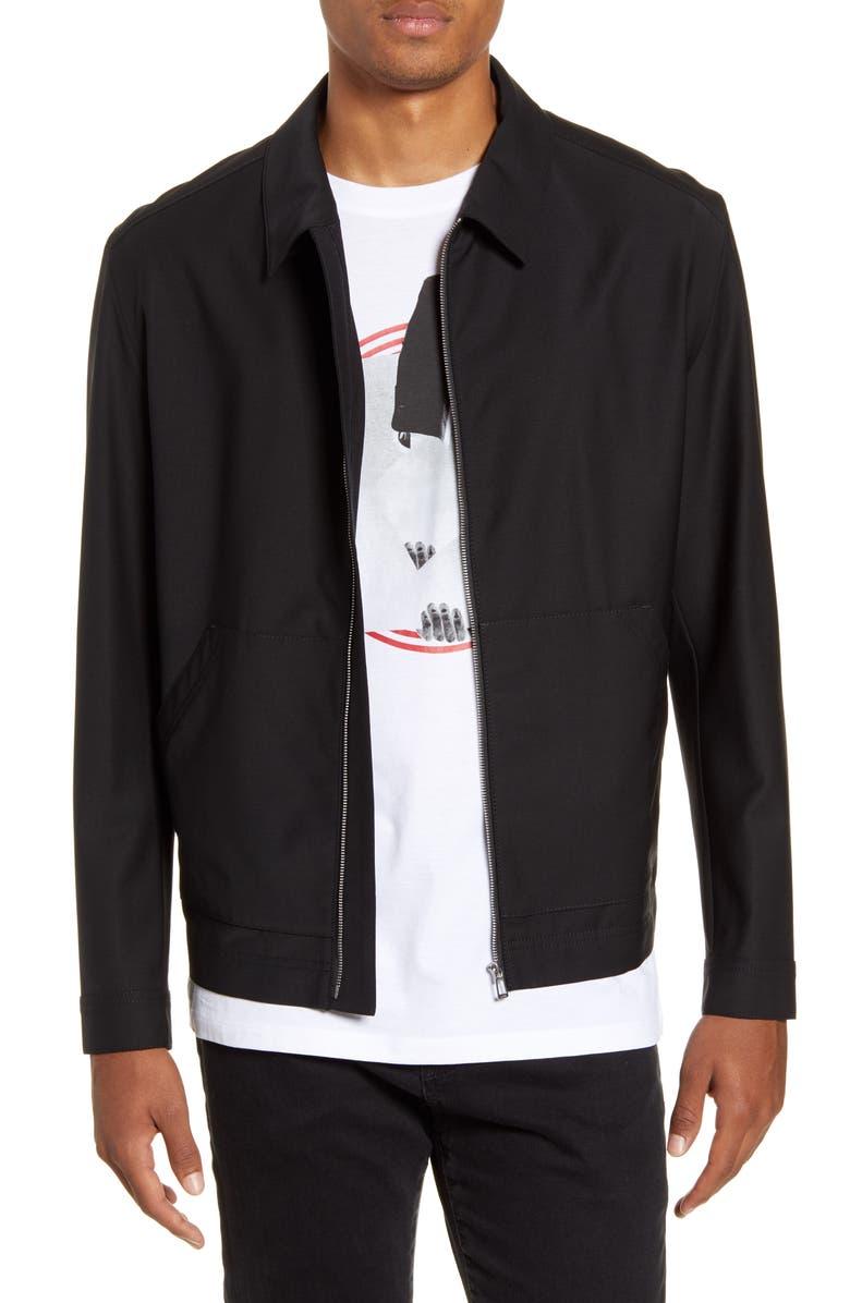 HUGO Bibon Stretch Wool Blend Jacket, Main, color, BLACK