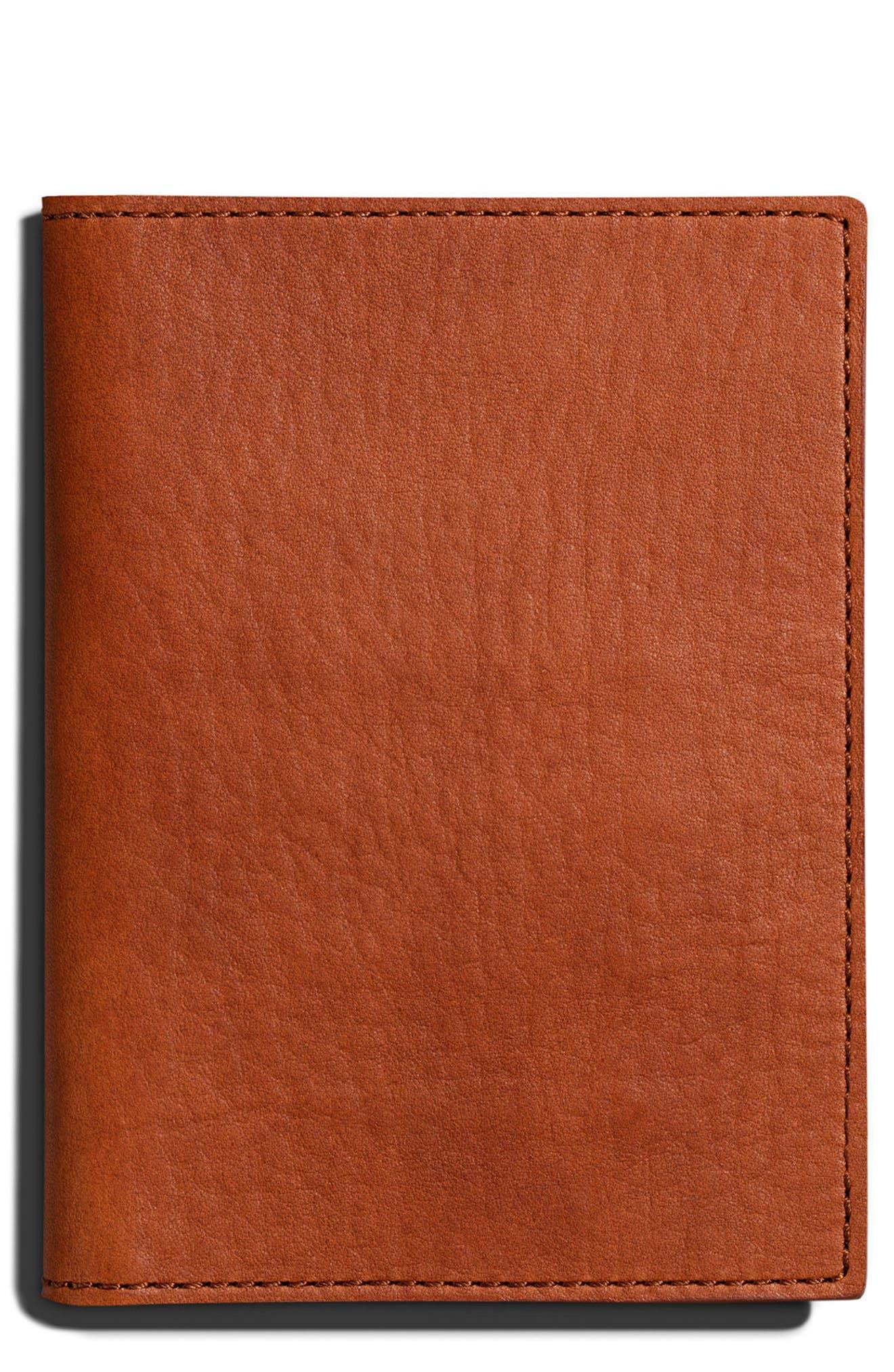 Leather Passport Wallet, Main, color, BOURBON