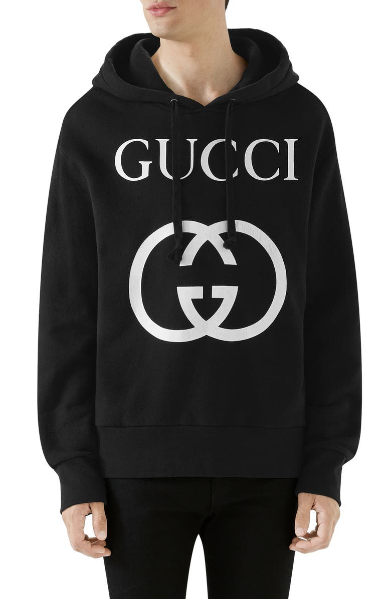 GUCCI New Logo Cotton Hoodie, Main, color, BLACK IVORY