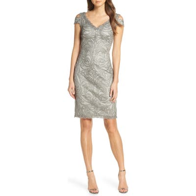 Tadashi Shoji Embroidered Cold Shoulder Sheath, Grey