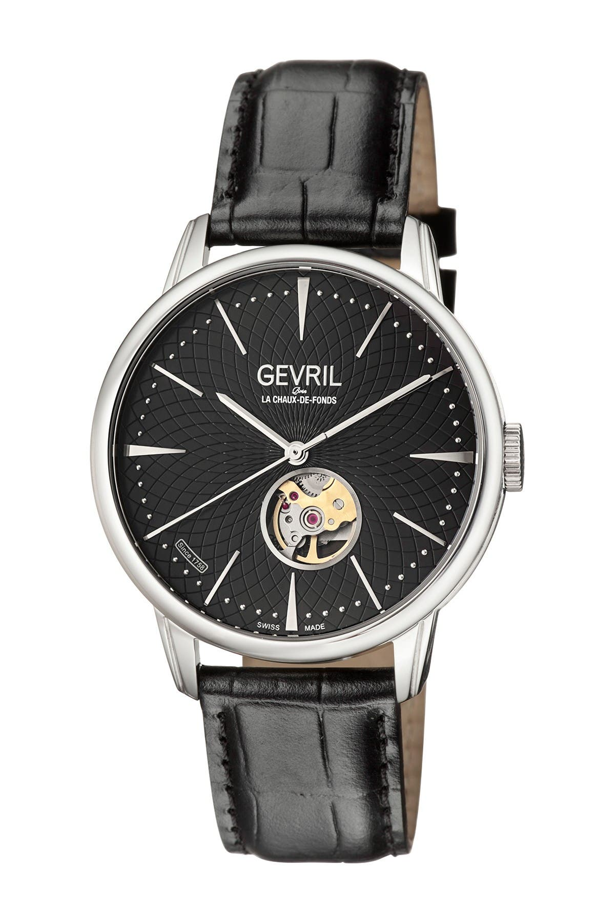 Image of Gevril Men's Mulberry Swiss-Automatic Embossed Leather Strap Watch, 41mm