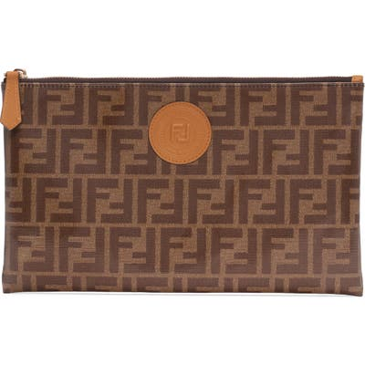 Fendi Large Busta Logo Canvas Zip Pouch - Brown