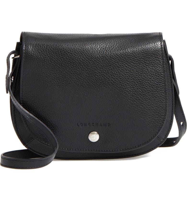 LONGCHAMP Small Le Foulonne Leather Crossbody Bag, Main, color, BLACK