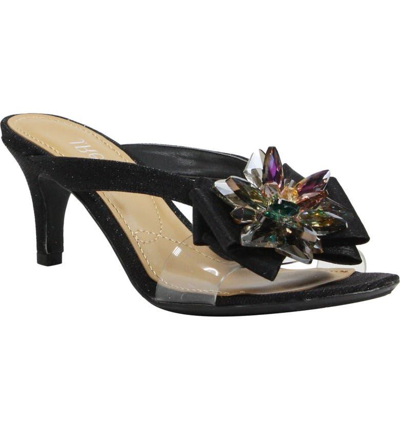 J. RENEÉ Gredel Embellished Slide Sandal, Main, color, BLACK GLITTER FABRIC