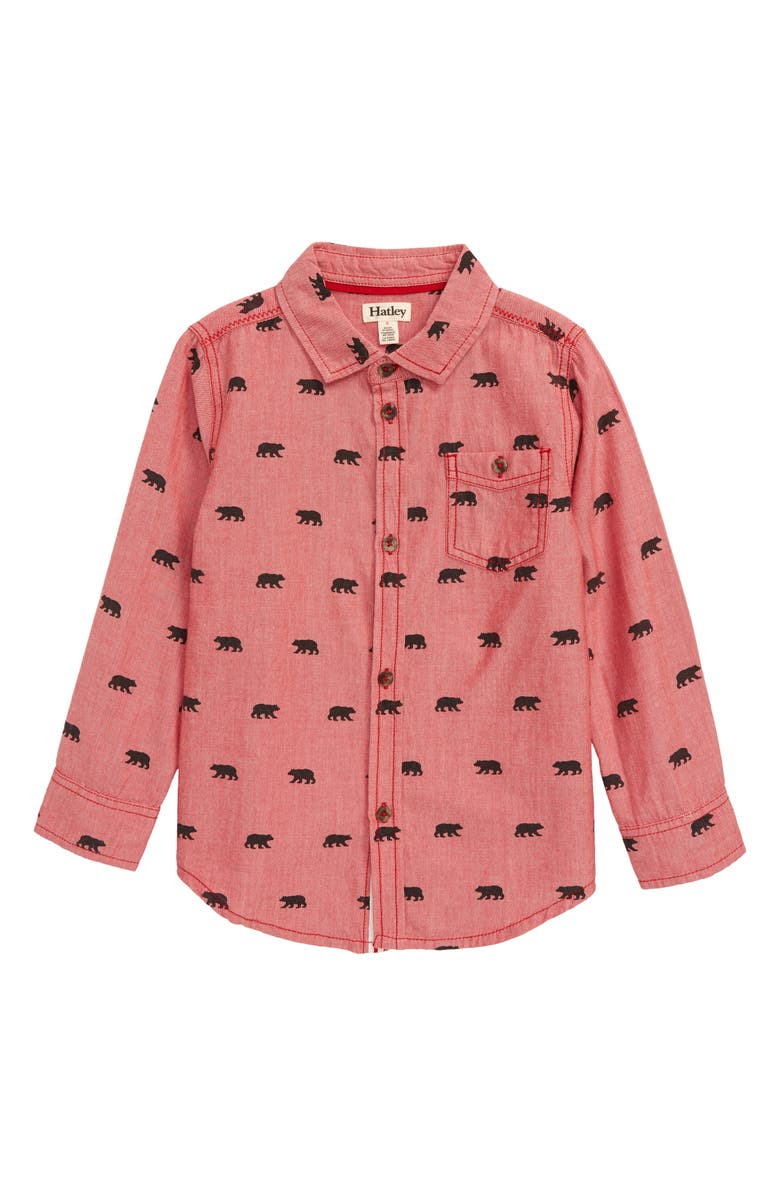 HATLEY Black Bears Button-Down Shirt, Main, color, RED