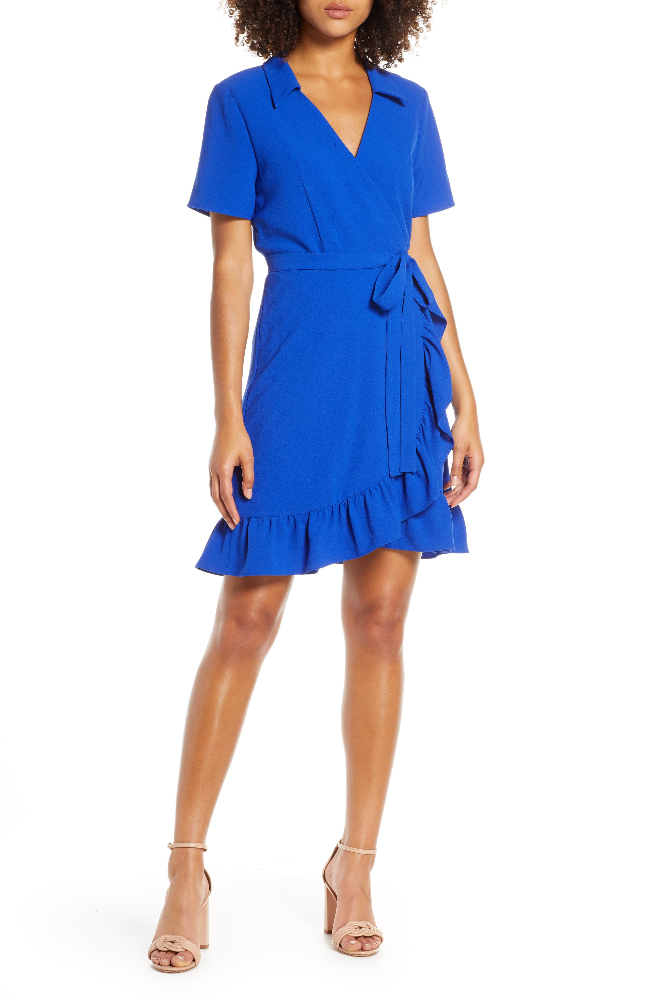 Petite Charles Henry Ruffle Collared Crepe Wrap Dress, Blue
