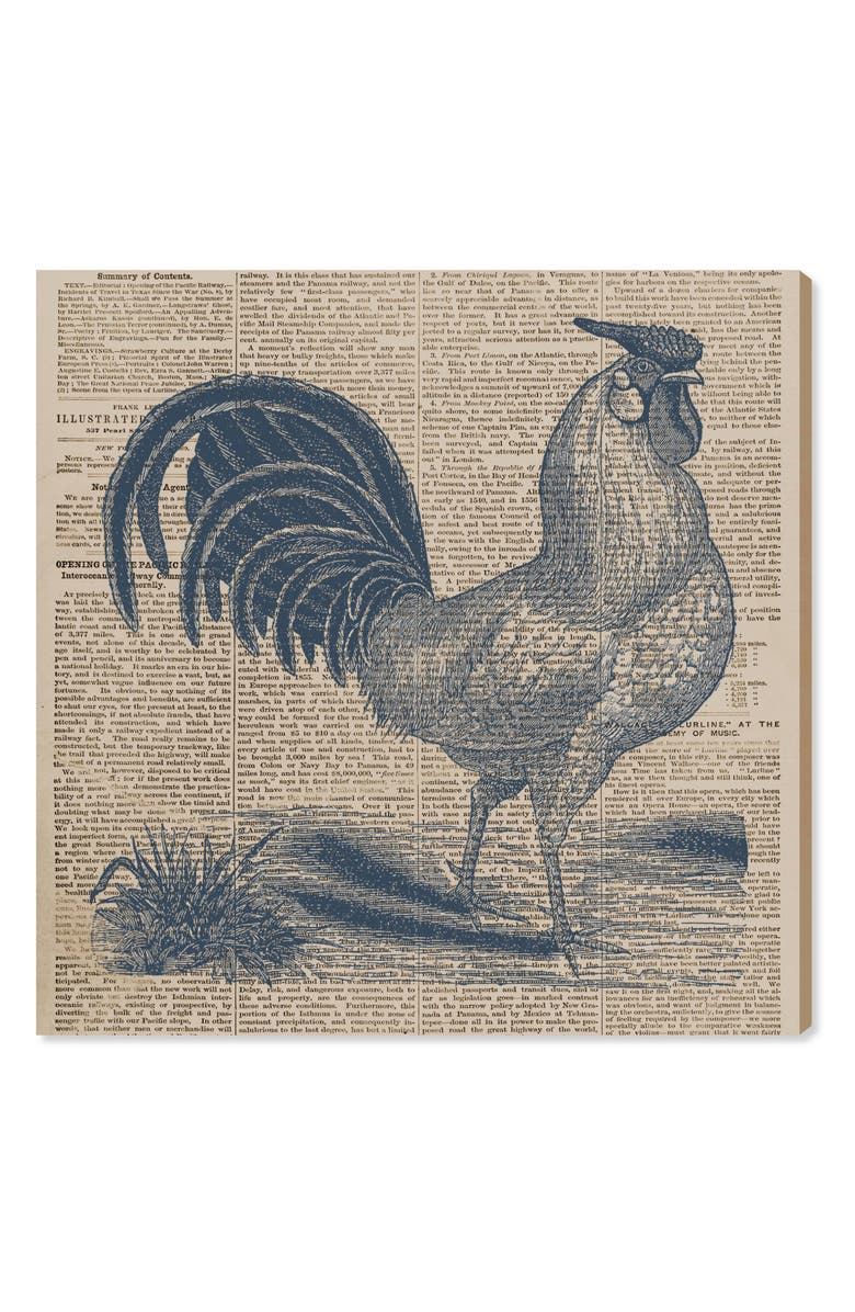 OLIVER GAL Rooster Newspaper Canvas Wall Art, Main, color, BLUE