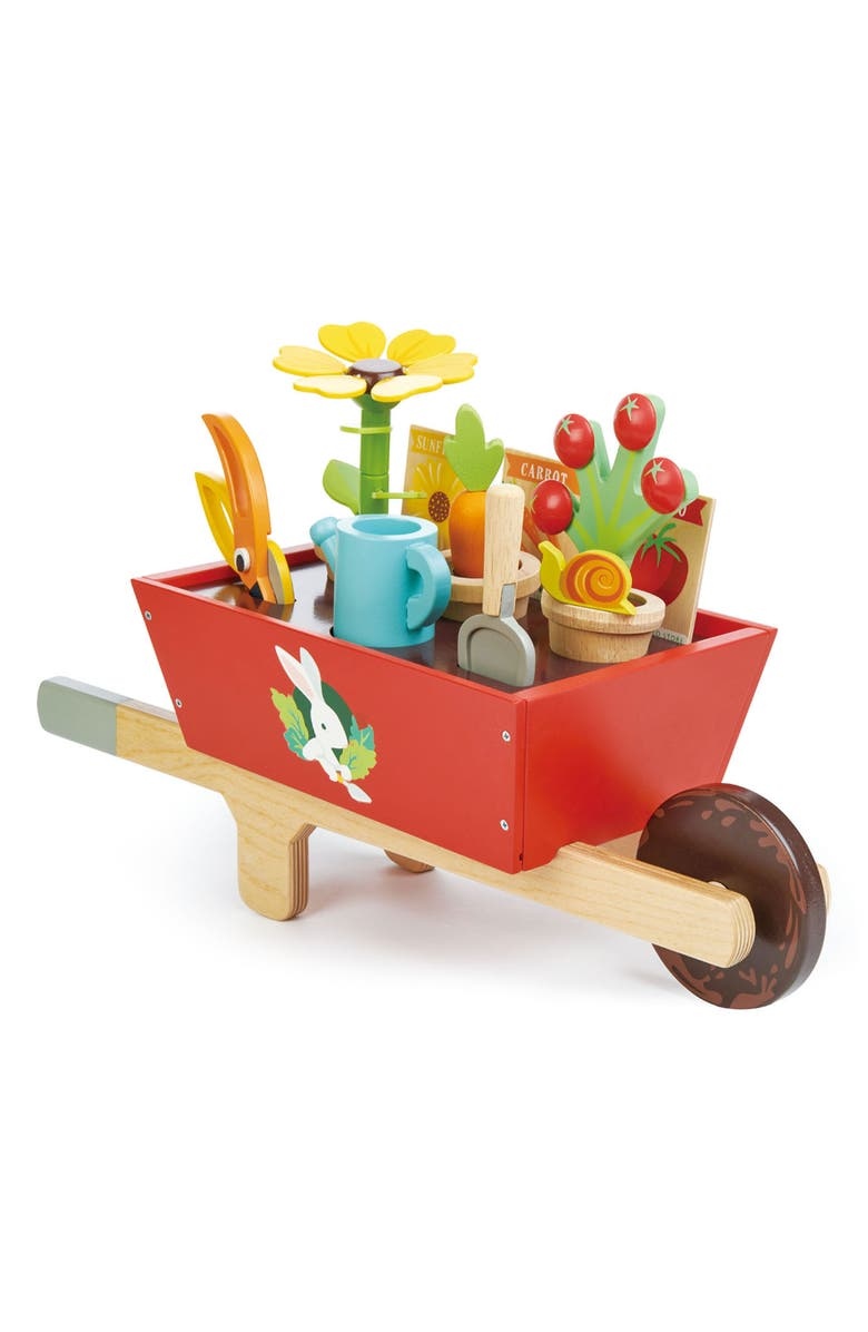 TENDER LEAF TOYS Garden Wheelbarrow Play Set, Main, color, RED