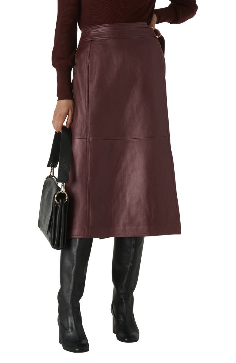WHISTLES Selina Wrap Leather Skirt, Main, color, 930