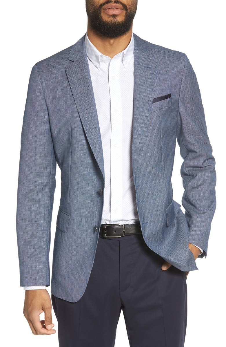 BOSS Hartlay Trim Fit Wool Blazer, Main, color, 474