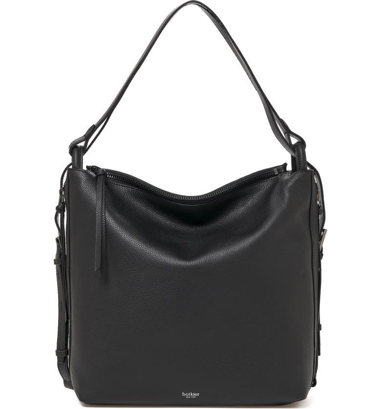 BOTKIER Bond Convertible Leather Hobo Bag, Main, color, BLACK