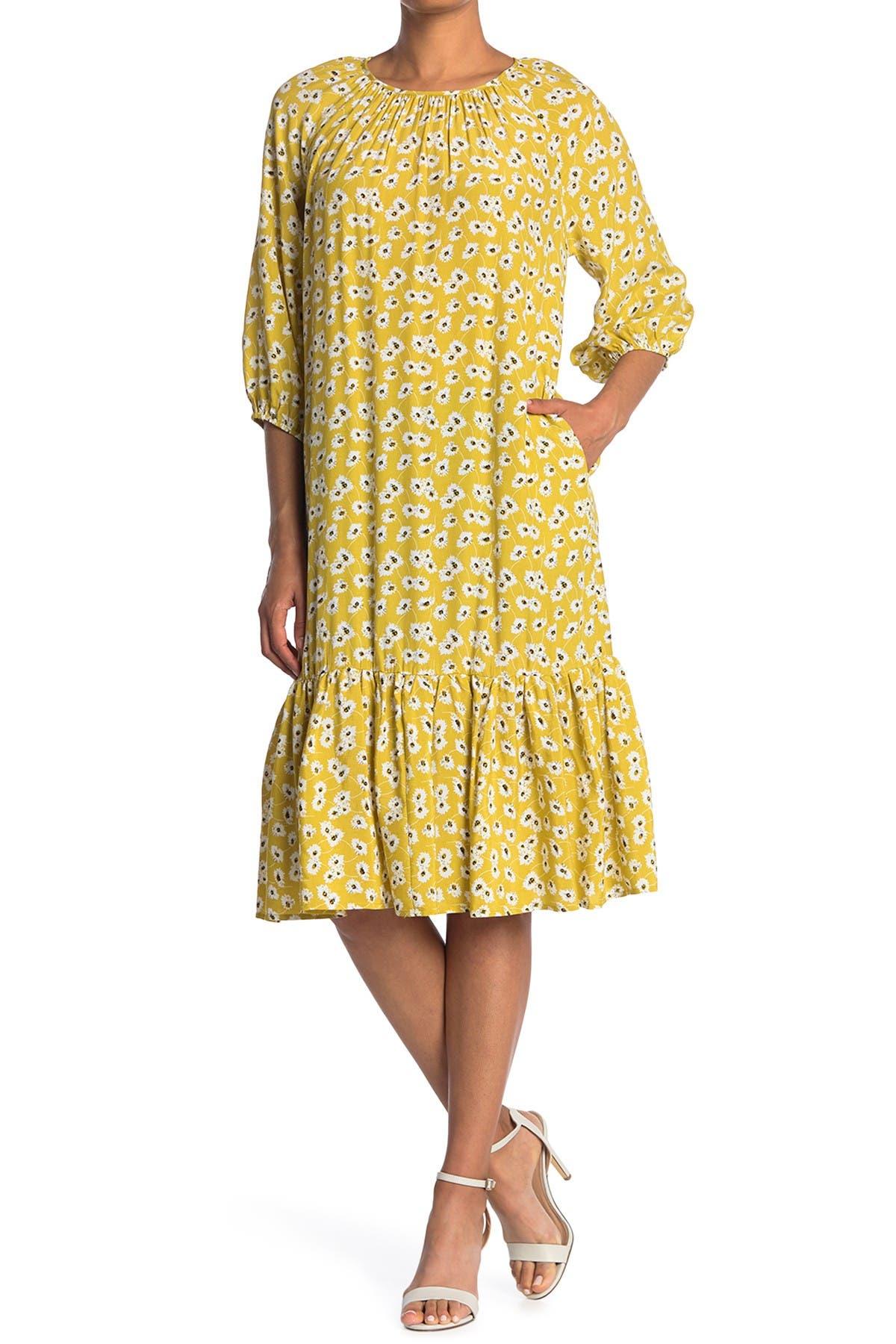 Image of MELLODAY Elbow Sleeve Ruffle Hem Midi Dress