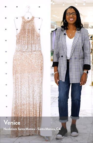 Sequin Halter Neck Blouson Evening Gown, sales video thumbnail