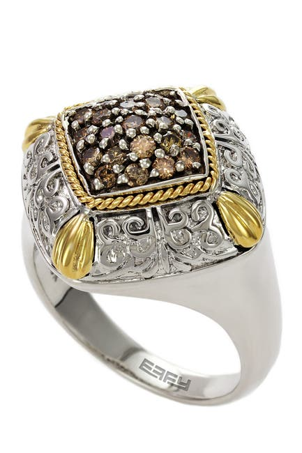 Image of Effy Sterling Silver & 18K Yellow Gold Pave Brown Diamond Cushion Shape Ring - 0.42 ctw