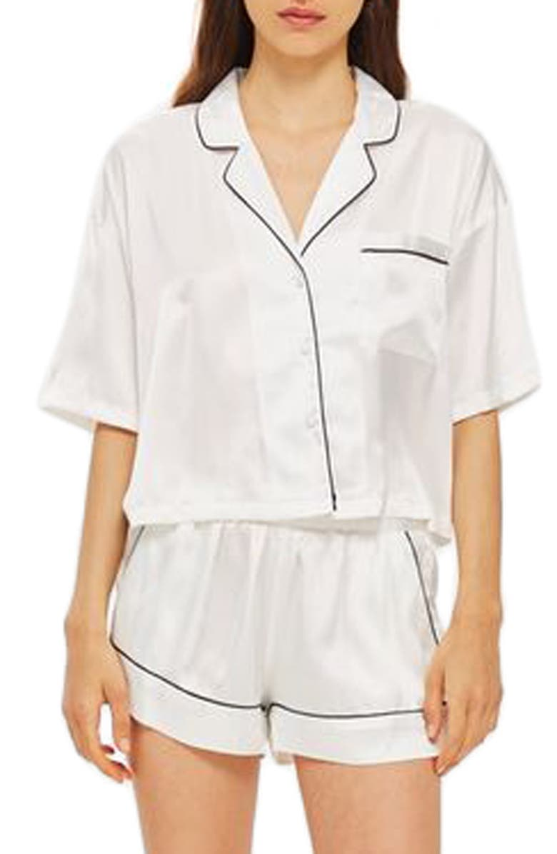 TOPSHOP Chloe Satin Short Pajamas, Main, color, 100