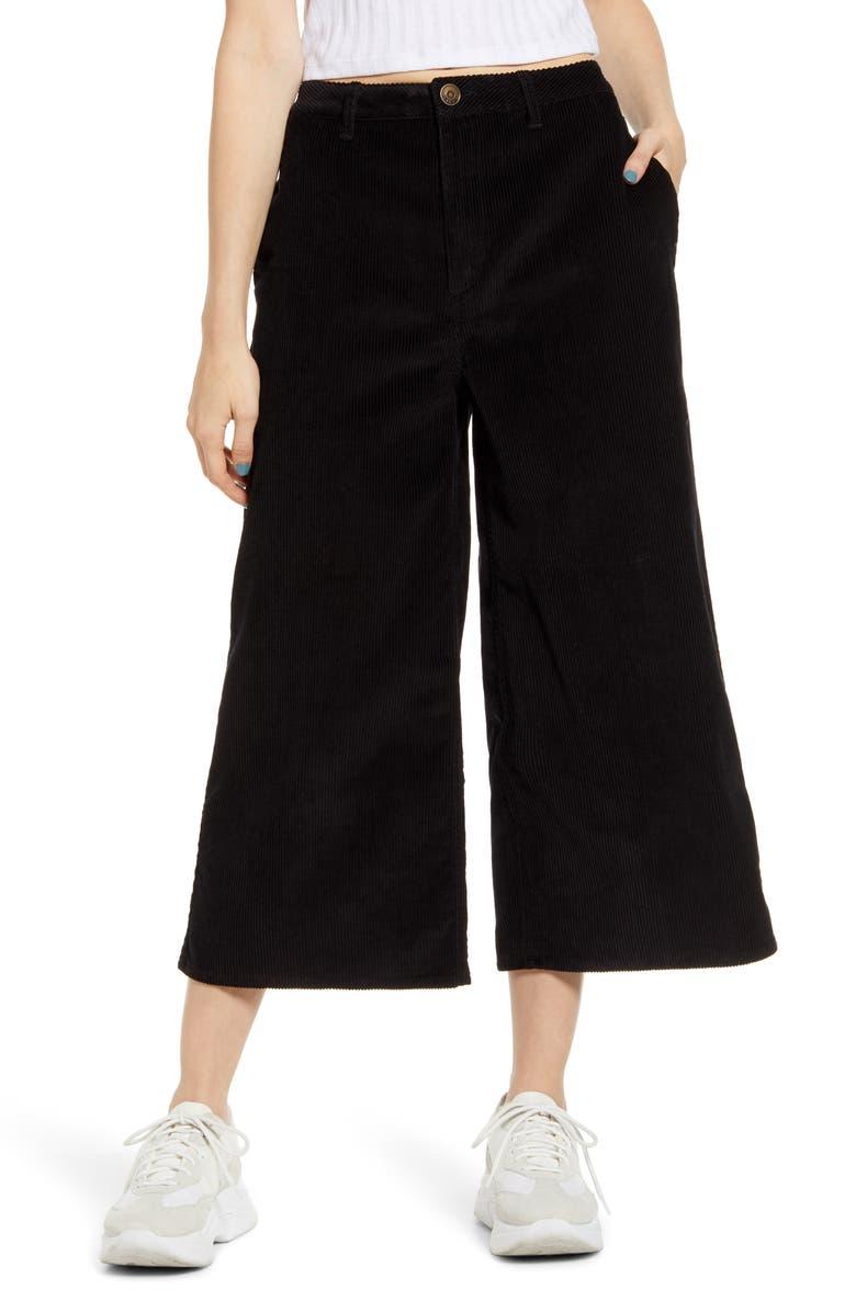 LIRA CLOTHING Sawyer Corduroy Wide Leg Crop Pants, Main, color, 001