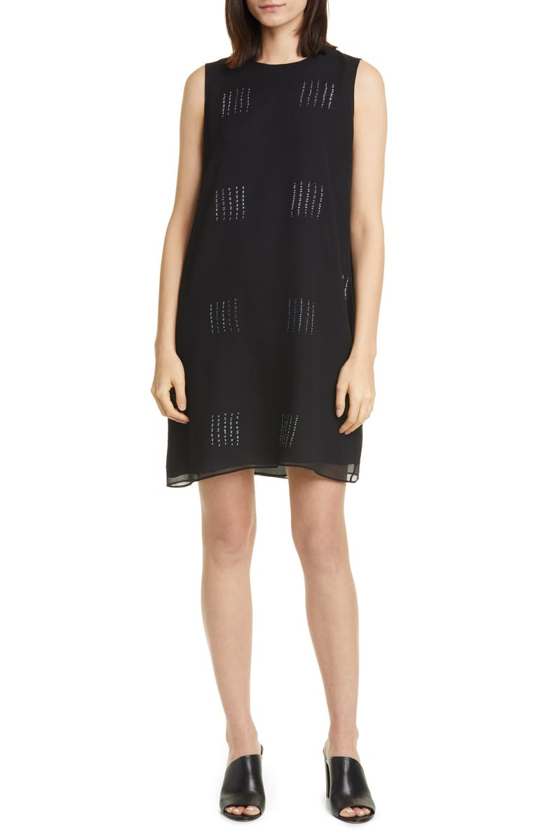 EILEEN FISHER Hand Dyed Silk Shift Dress, Main, color, 001