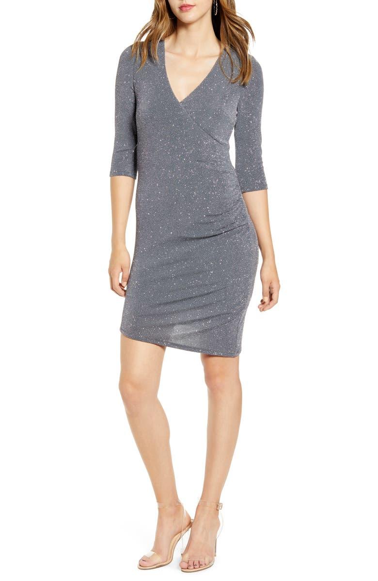 SPEECHLESS Glitter Wrap Style Sheath Dress, Main, color, SILVER