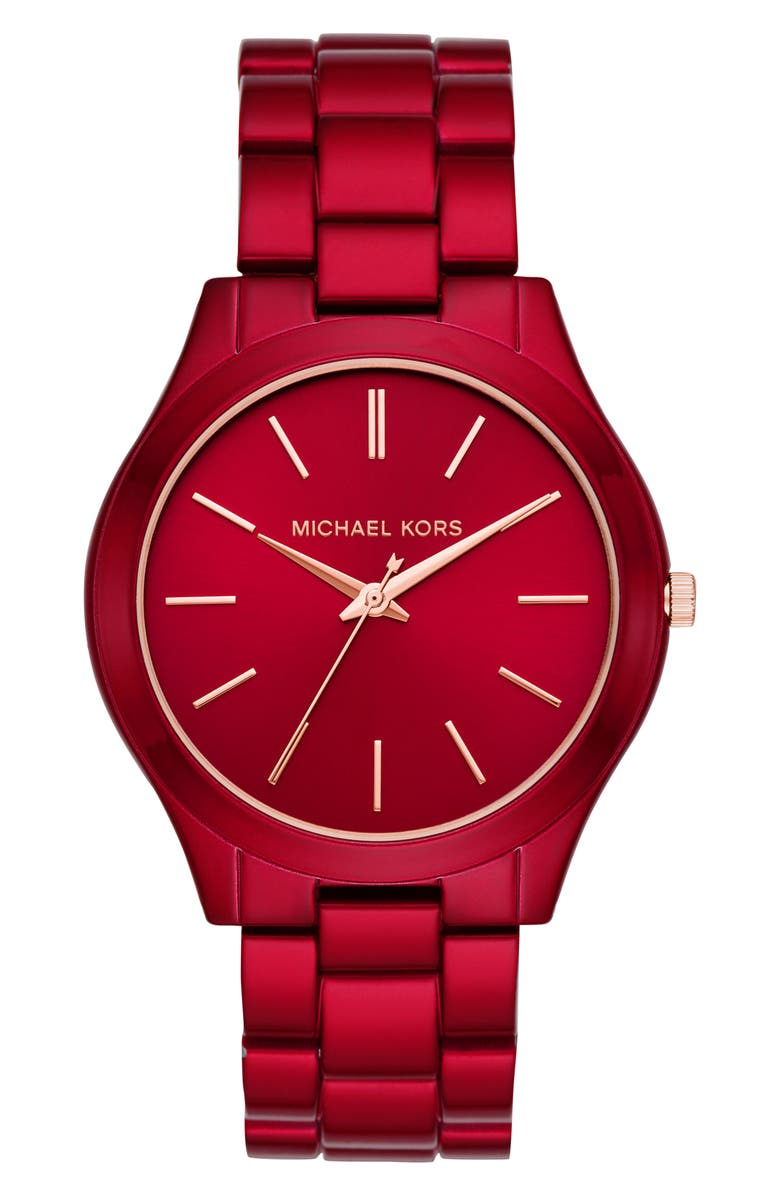 MICHAEL KORS Slim Runway Bracelet Watch, 42mm, Main, color, RED