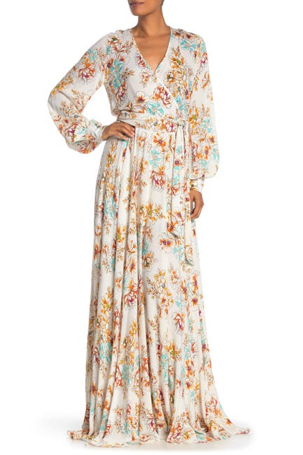 Image of Meghan LA Lilypad Floral Print Surplice Maxi Dress