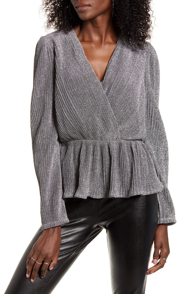 ENDLESS ROSE Metallic Wrap Front Long Sleeve Blouse, Main, color, SILVER