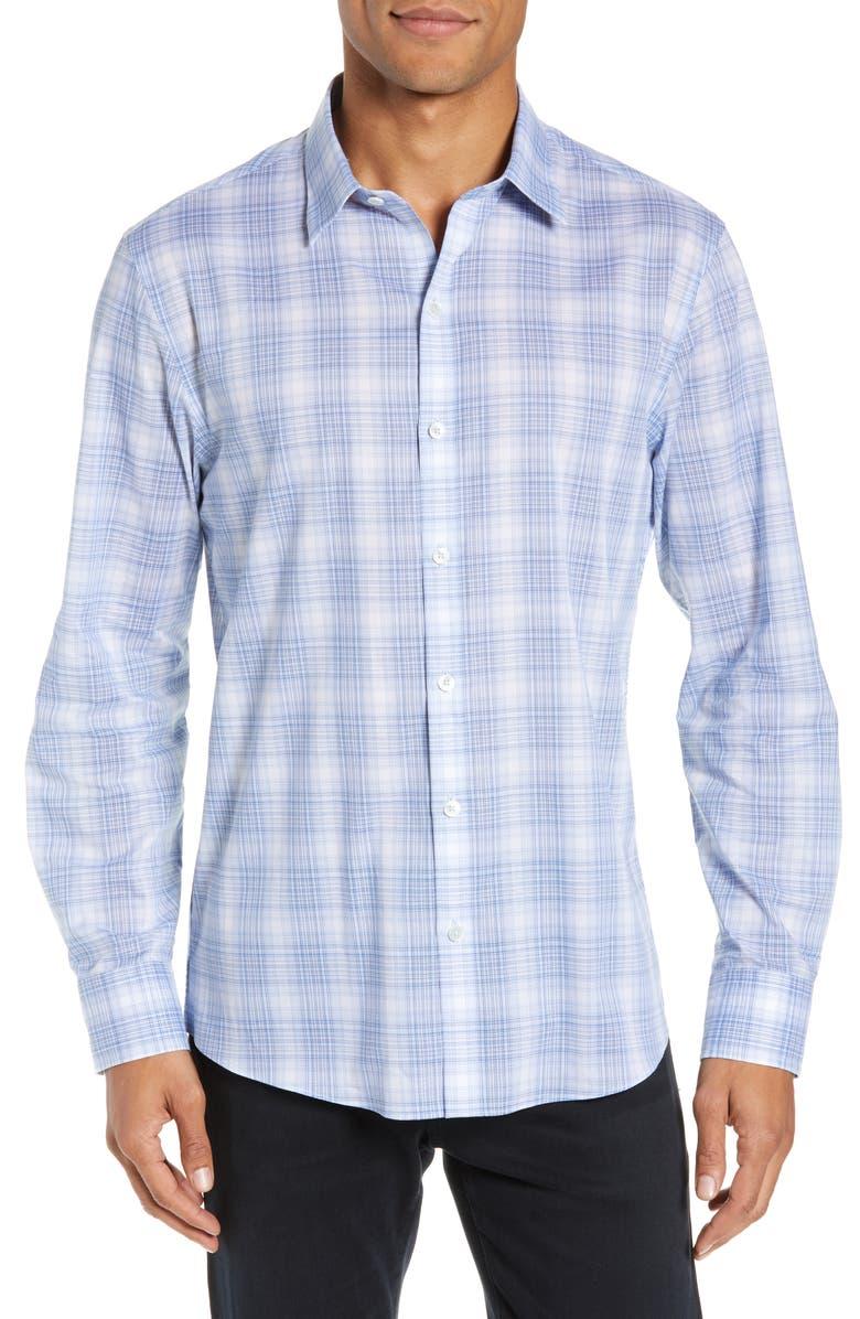 ZACHARY PRELL Soroush Regular Fit Windowpane Plaid Shirt, Main, color, 400
