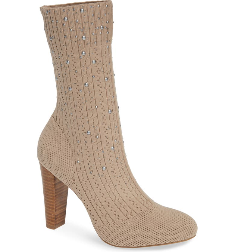 CHARLES BY CHARLES DAVID Sky Bootie, Main, color, NUDE STRETCH KNIT