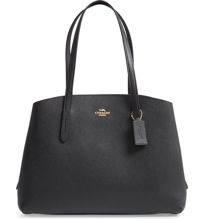COACH Charlie 40 Leather Tote, Main, color, BLACK