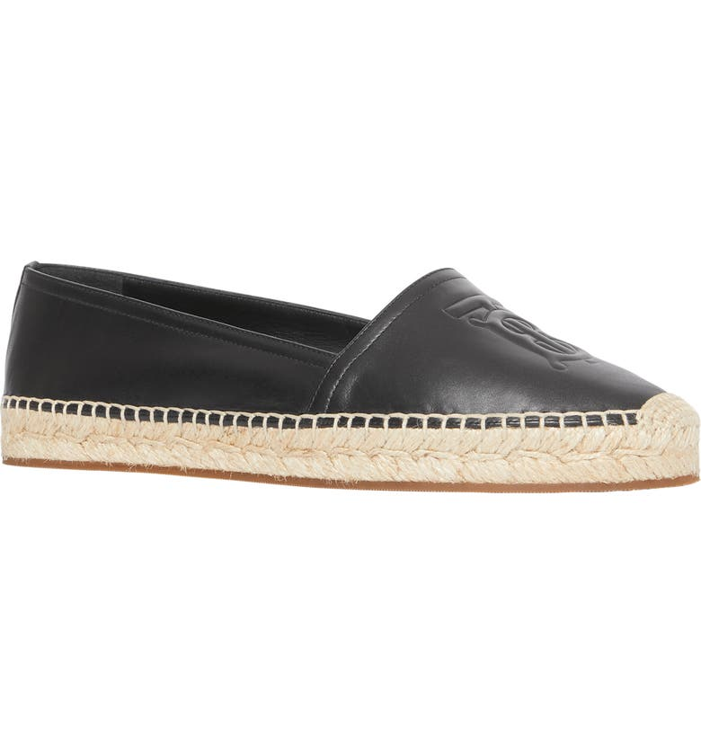 BURBERRY Tabitha Logo Monogram Espadrille Flat, Main, color, BLACK