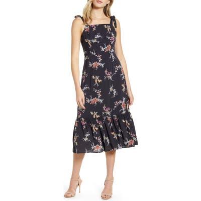 Paige Tolucah Floral Midi Sundress, Black