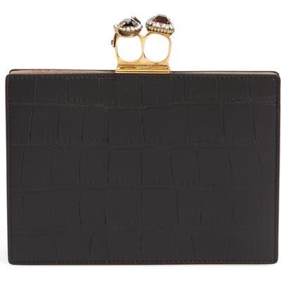 Alexander Mcqueen Croc Embossed Calfskin Leather Double Ring Clutch - Black