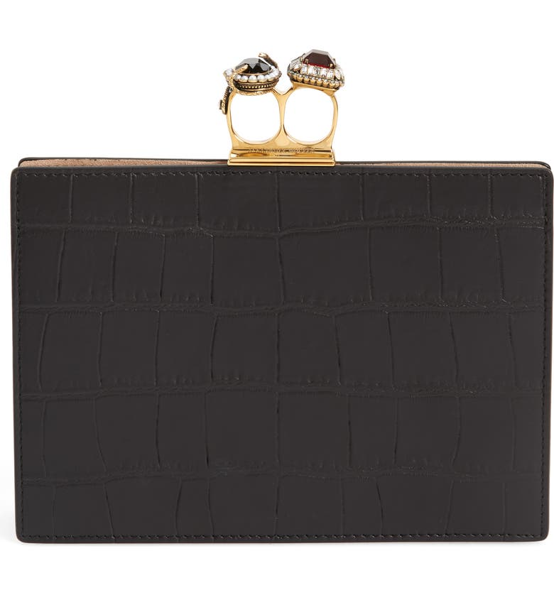 Croc Embossed Calfskin Leather Double Ring Clutch by Alexander Mcqueen
