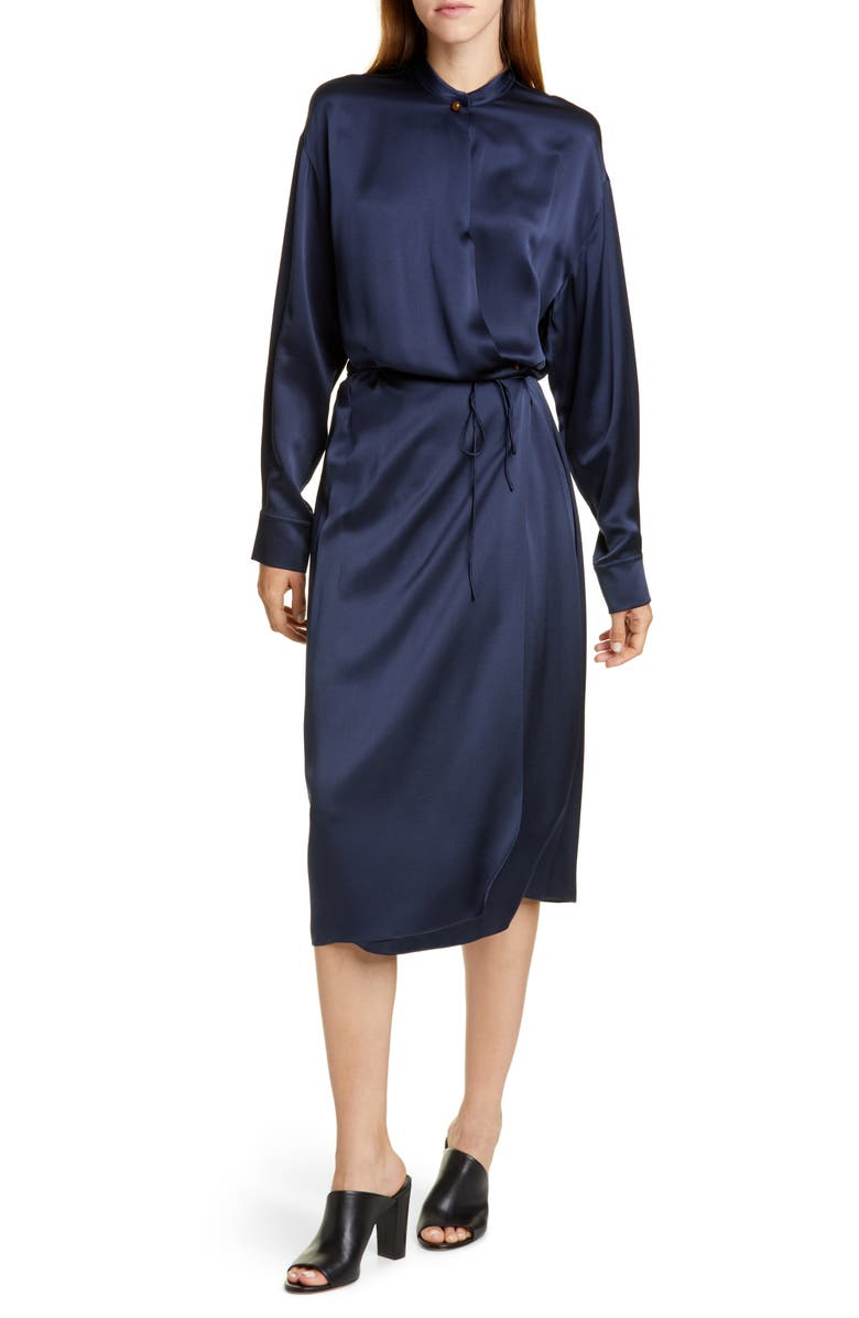 VINCE Long Sleeve Silk Wrap Dress, Main, color, BALTIC