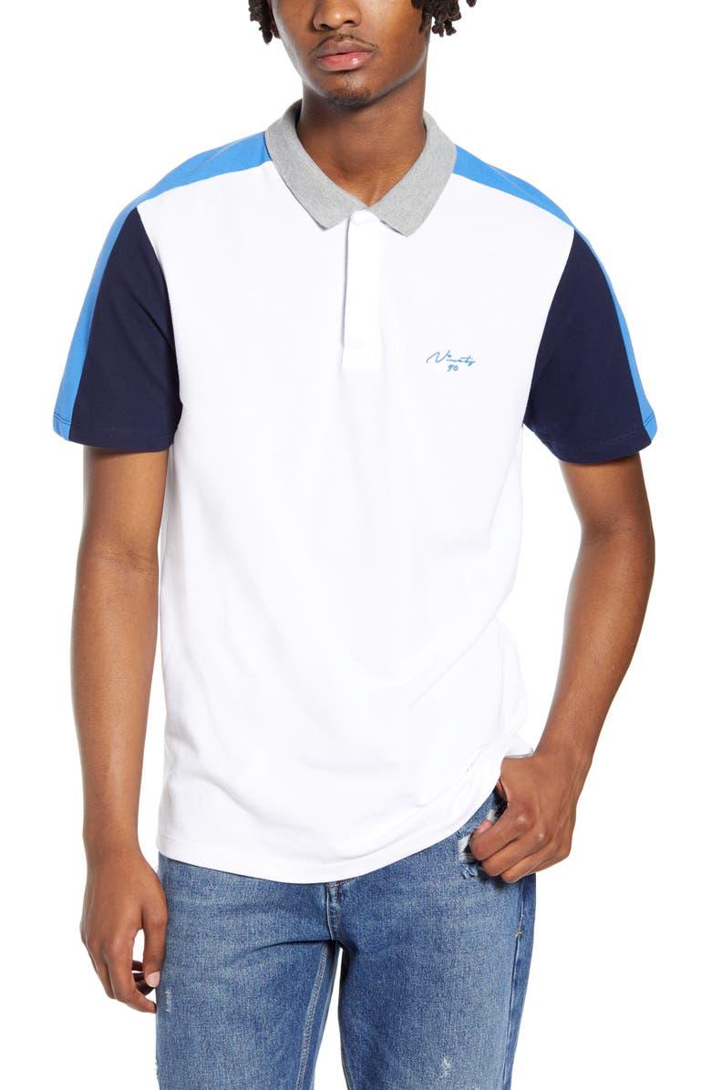 TOPMAN Slim Fit Colorblock Piqué Polo, Main, color, WHITE MULTI