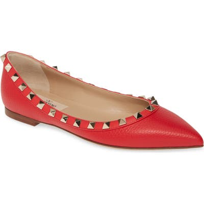 Valentino Garavani Rockstud Ballerina Flat - Red