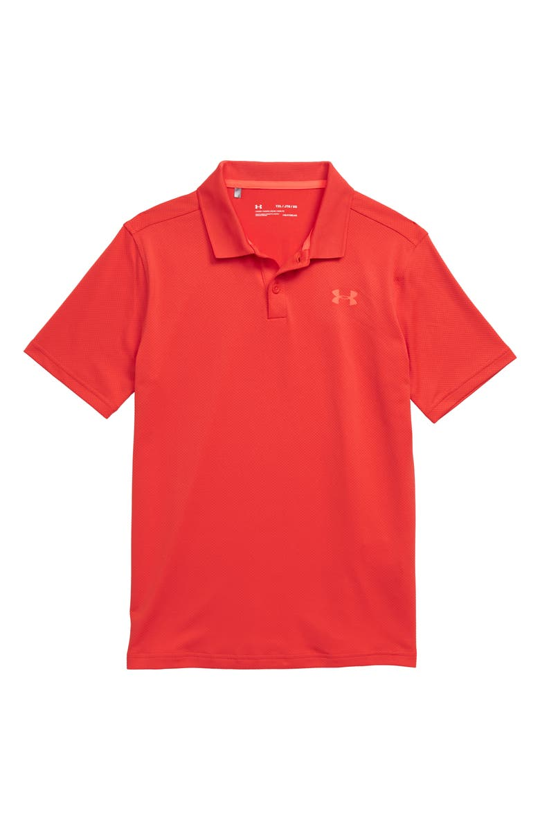 UNDER ARMOUR HeatGear<sup>®</sup> Performance Polo, Main, color, MARTIAN RED/ ASH GRAY