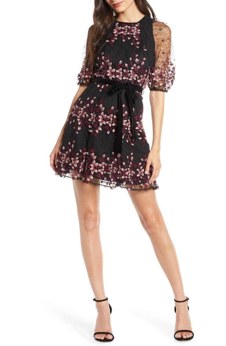 FOXIEDOX Ziva Floral Embroidered Minidress, Main, color, ZIVA MULTI