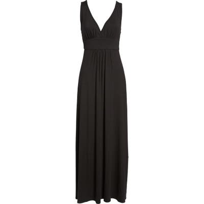 Petite Loveappella V-Neck Jersey Maxi Dress, Black