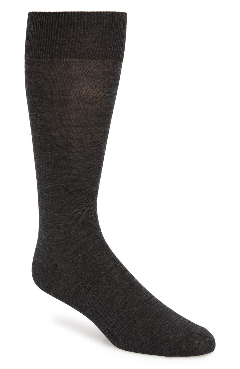 NORDSTROM SIGNATURE Merino Wool Blend Socks, Main, color, CHARCOAL HEATHER
