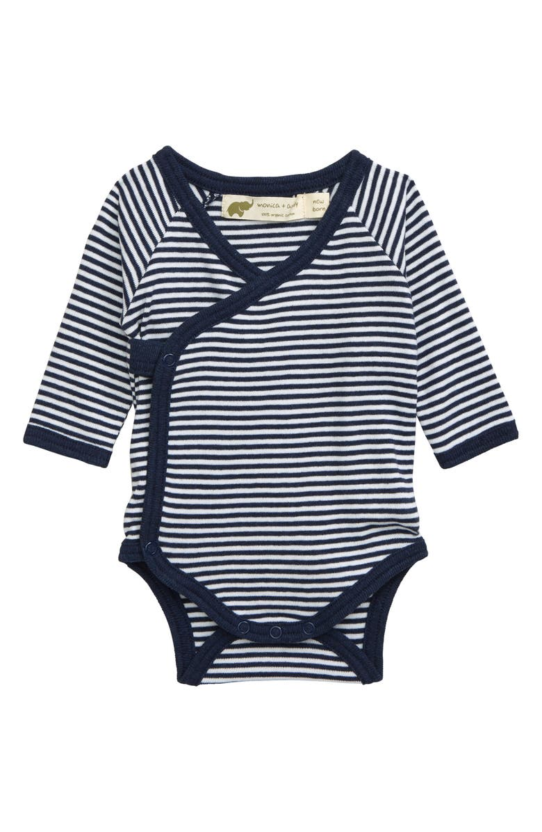 MONICA + ANDY Lucky Organic Cotton Bodysuit, Main, color, NAVY + WHITE FRENCH STRIPES