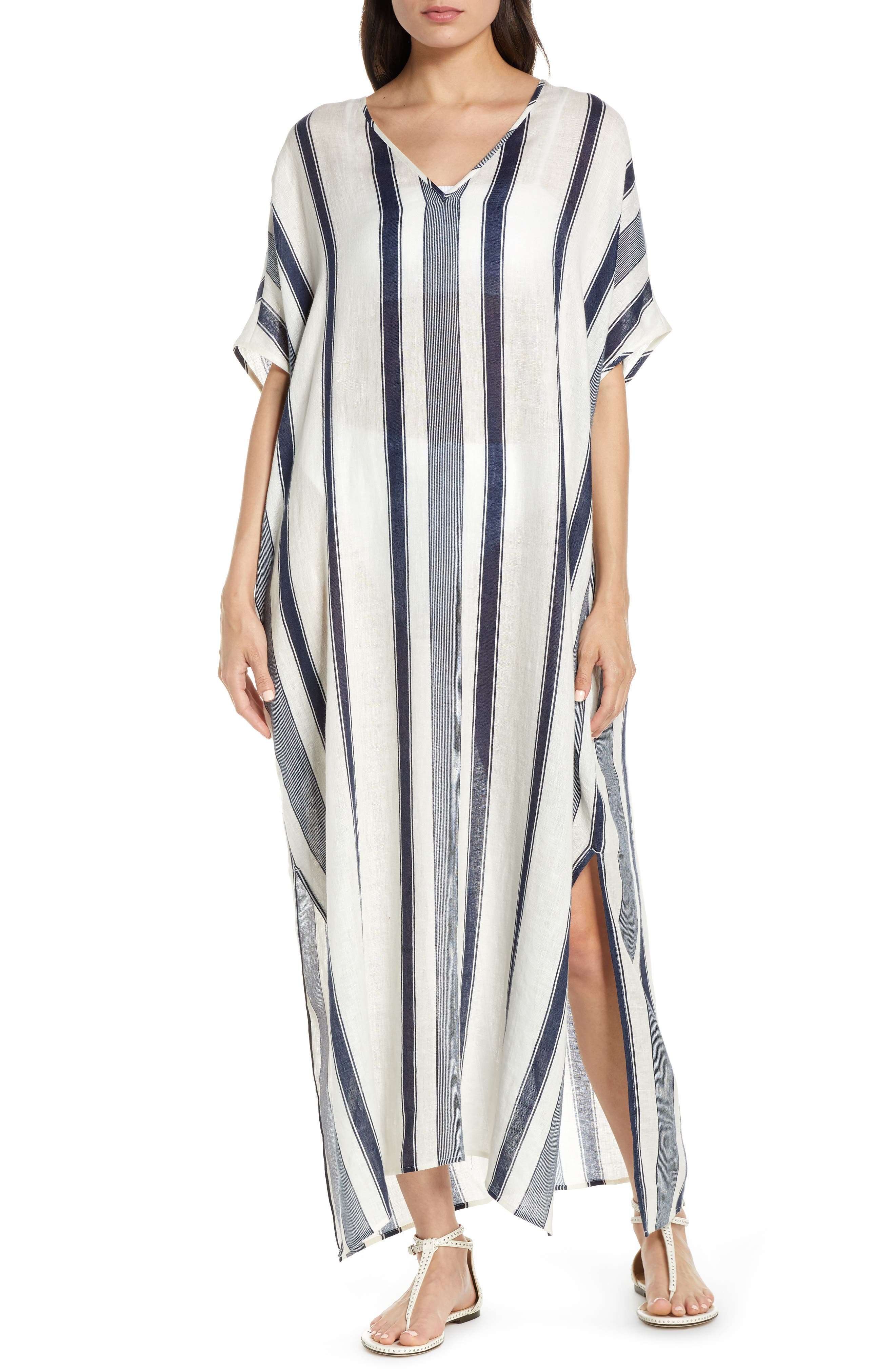 Tory Burch Awning Stripe Cover-Up Caftan Maxi Dress, Ivory