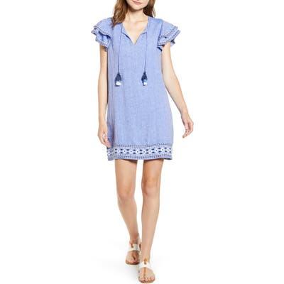 Vineyard Vines Embroidered Flutter Sleeve Shift Dress, Blue