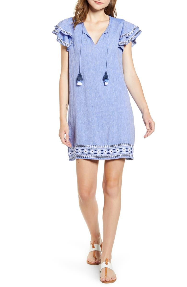 VINEYARD VINES Embroidered Flutter Sleeve Shift Dress, Main, color, 400