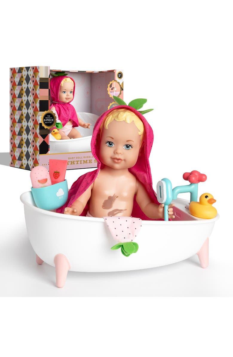 FAO SCHWARZ 9-Piece Toy Doll Bath Set, Main, color, PINK/ WHITE