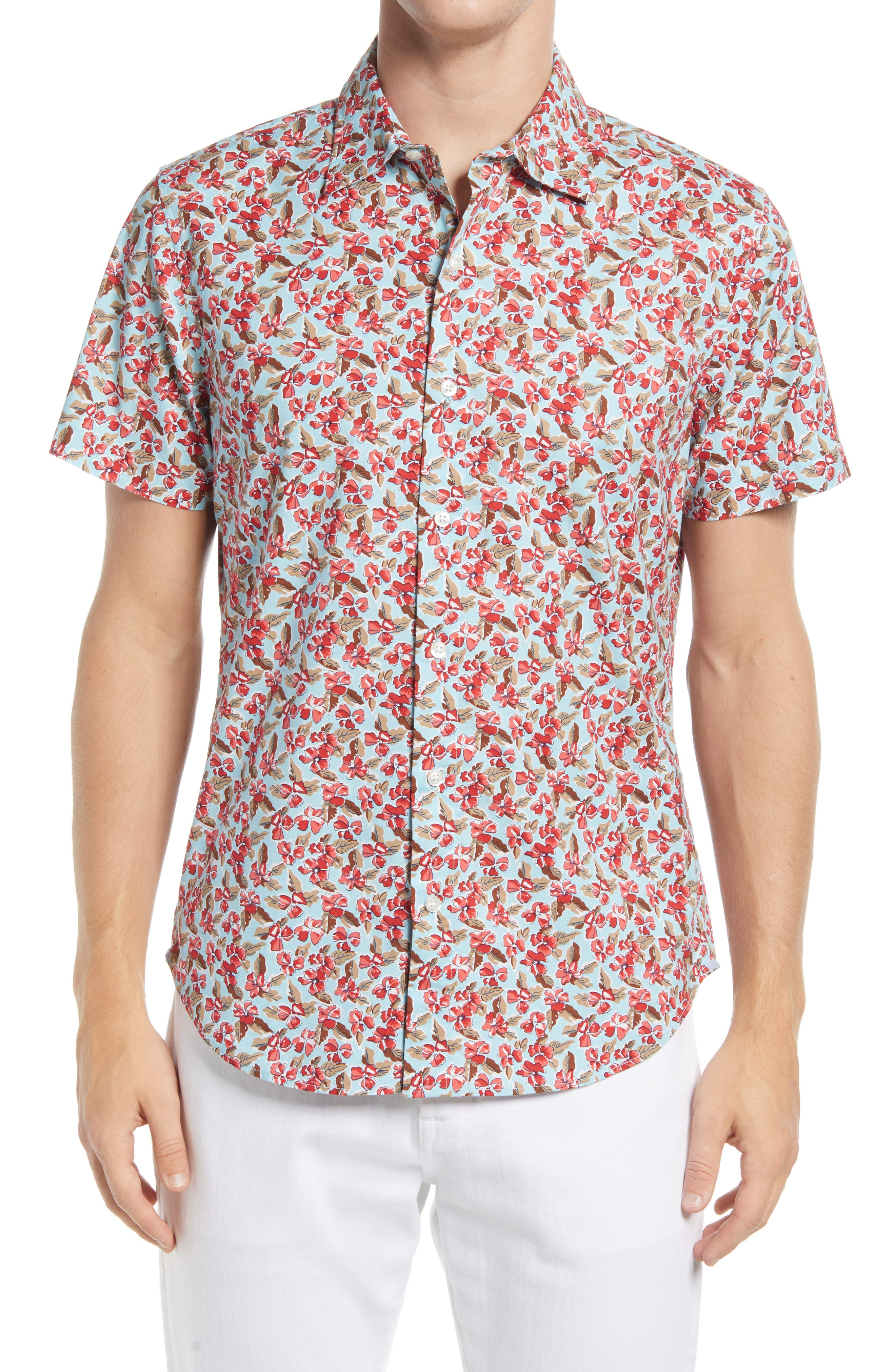 Riviera Slim Fit Floral Short Sleeve Stretch Button-Up Shirt