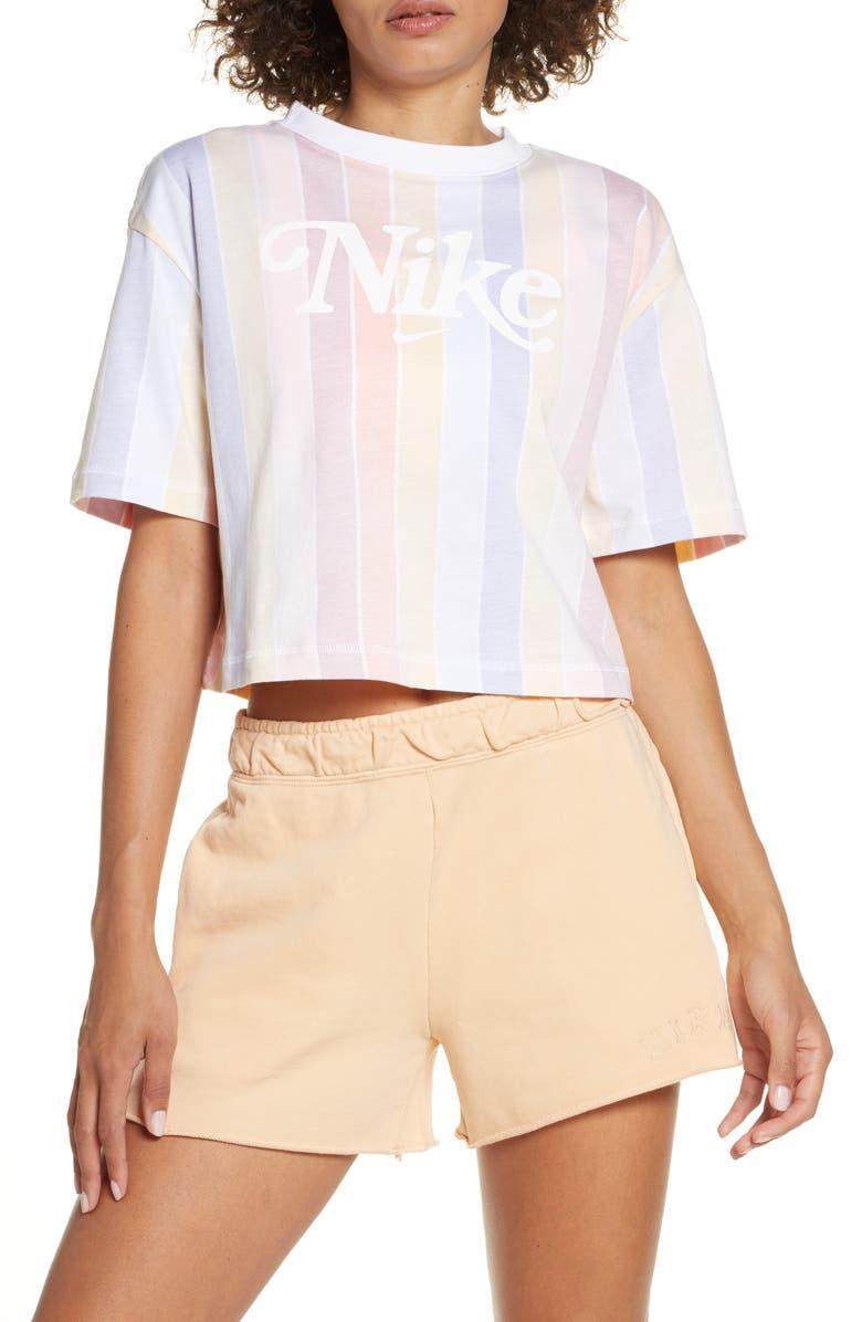 NIKE Sportswear Retro Print Crop Top, Main, color, 100