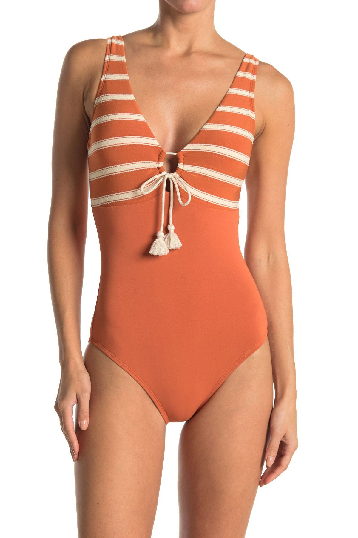 Image of Robin Piccone Abi Plunge Neck One-Piece Swimsuit